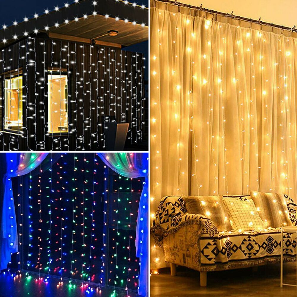 300 600 900 2400 led fairy string curtain light for new year christmas party ebay. Black Bedroom Furniture Sets. Home Design Ideas