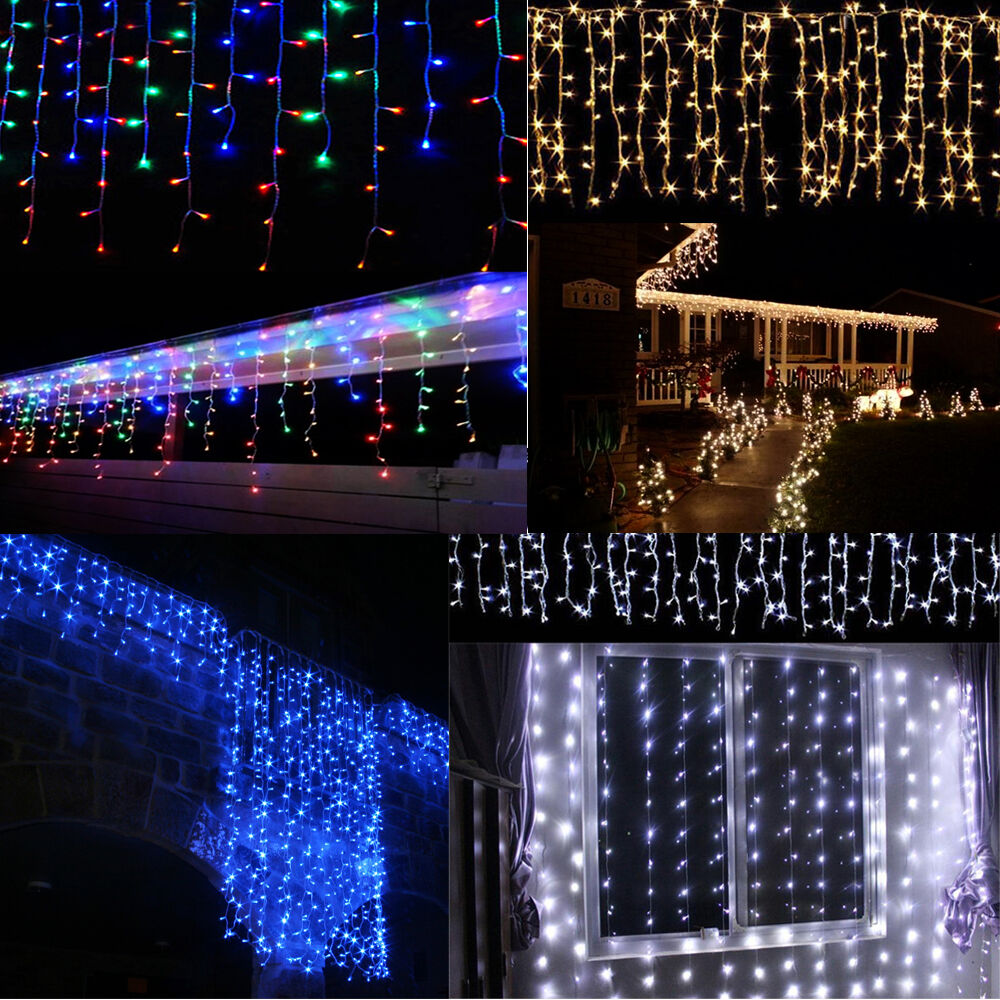 Outdoor Xmas Christmas LED Curtain Icicle Fairy String Lights Lamps Wedding U