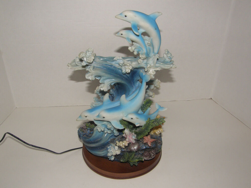 Led 5 Dolphins Coral Figurine Table Lamp Changing Colors