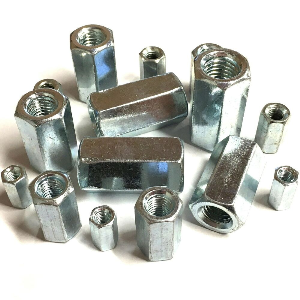 Bzp stud connectors long nuts threaded bar rod m