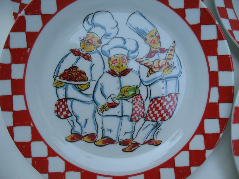 Old world italian chef set 4 dessert plates wall decor for Wall decor dishes