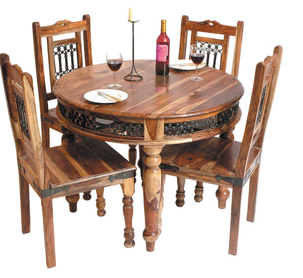 brand new jali indian solid sheesham wood round dining table and 4 chairs ebay. Black Bedroom Furniture Sets. Home Design Ideas