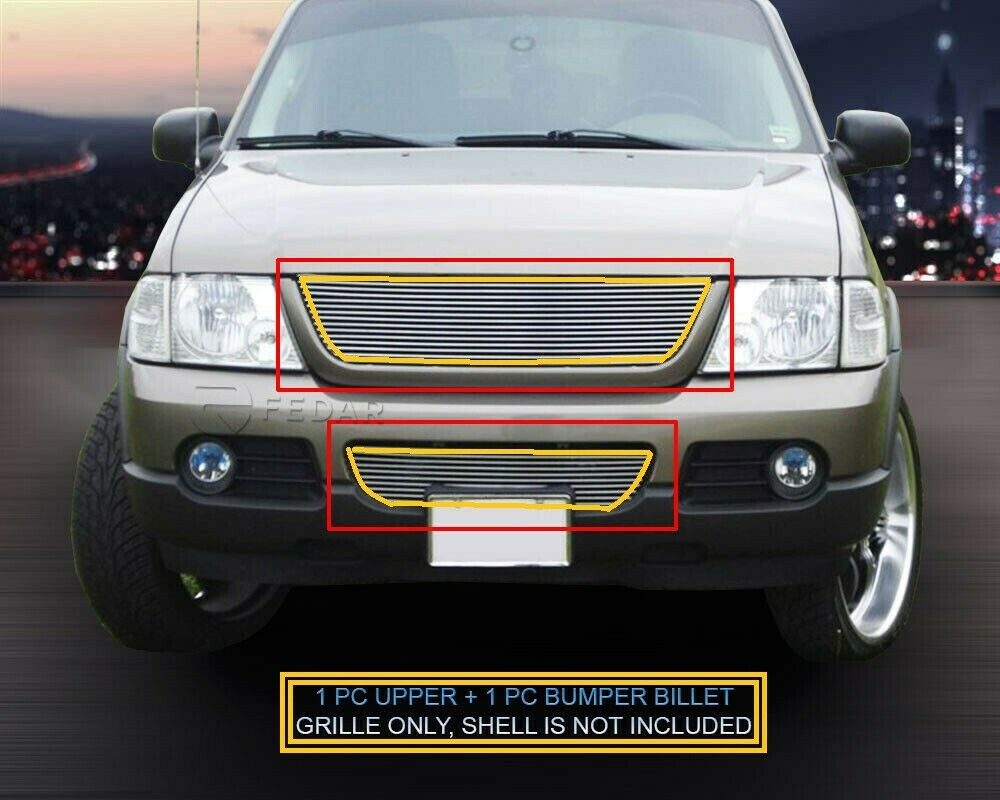 fits 2002 2005 ford explorer billet grille grill combo. Black Bedroom Furniture Sets. Home Design Ideas