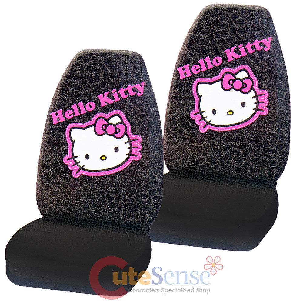 hello kitty car seat cover auto accessory 2pc front seat covers set collage ebay. Black Bedroom Furniture Sets. Home Design Ideas