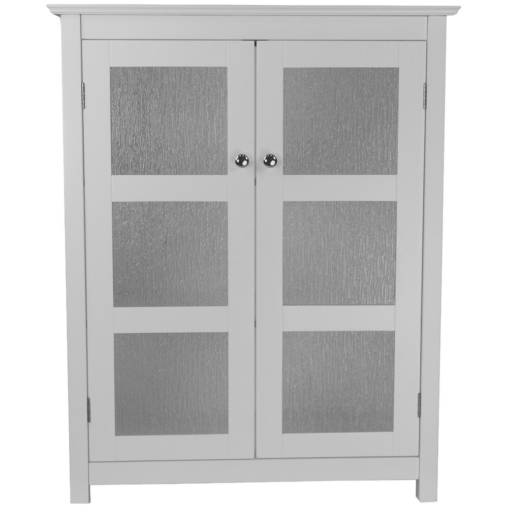 white bathroom cabinet with glass doors connor modern white floor cabinet w 2 textured glass doors 25869