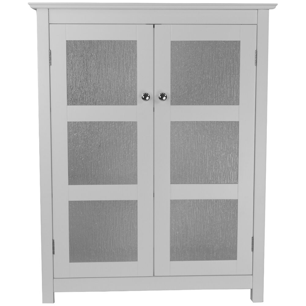 Connor modern white floor cabinet w 2 textured glass doors for Bathroom cabinet doors