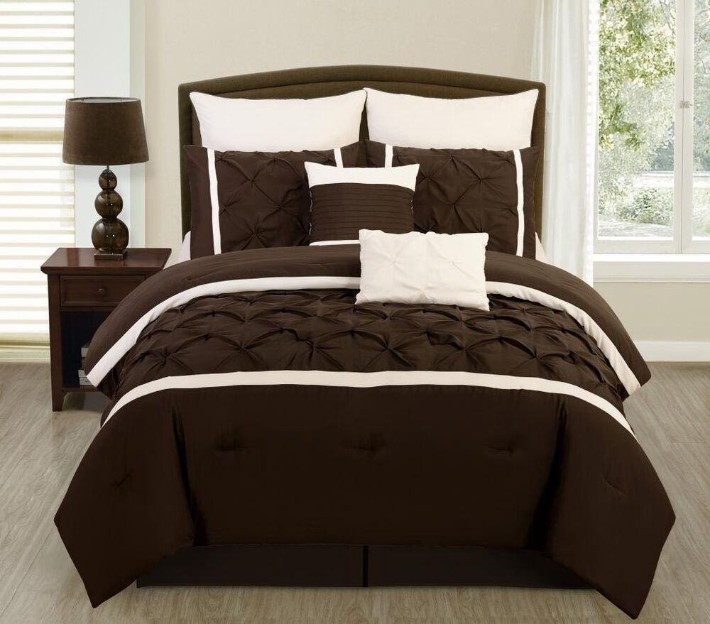 8 pc brown cream pintuck design microfiber full queen for Bedroom designs brown and cream