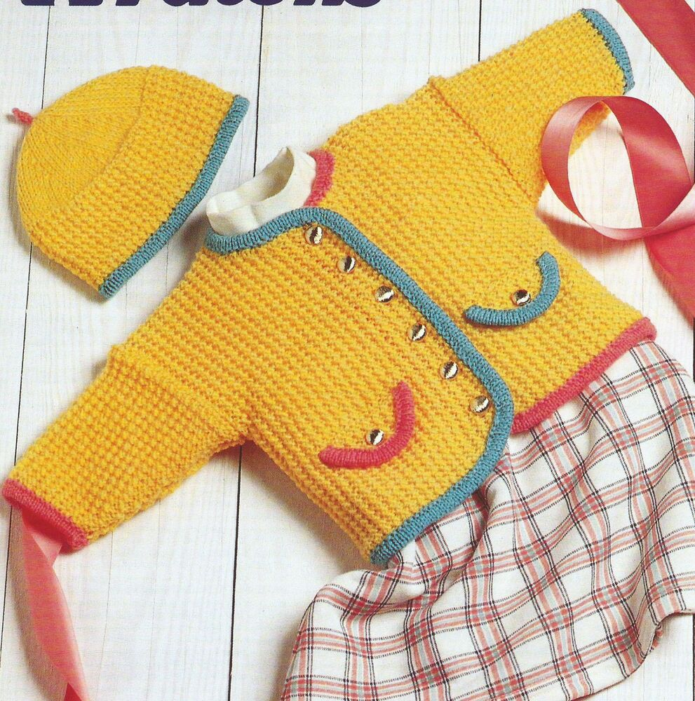 Knitting Patterns For Babies Double Knitting : Baby Girls Knitting Pattern Jacket Hat 16-22