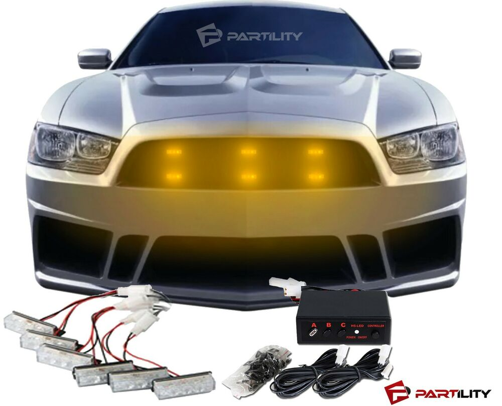 amber 18 led emergency vehicle car strobe flash lights. Black Bedroom Furniture Sets. Home Design Ideas