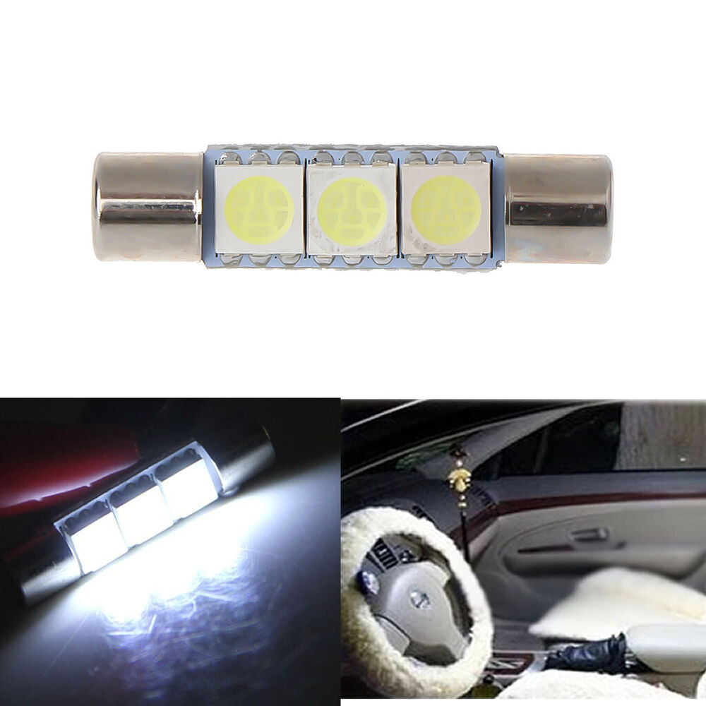 2x t6 3 smd 5050 white led bulbs for car sun visor vanity mirror fuse lights. Black Bedroom Furniture Sets. Home Design Ideas