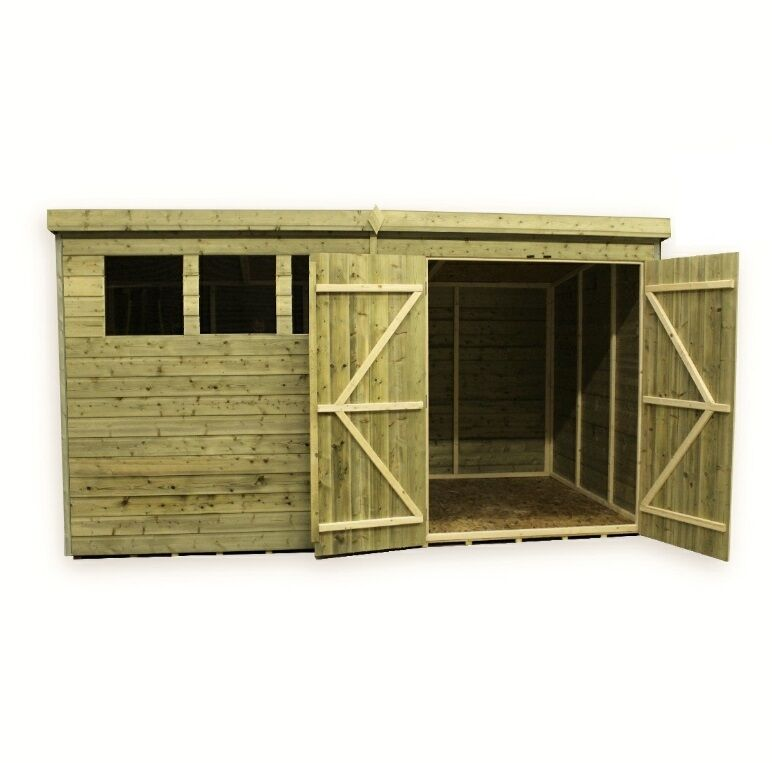 garden shed 10x6 12x6 14x6 pressure treated tg pent double door right - Garden Sheds 10 X 6