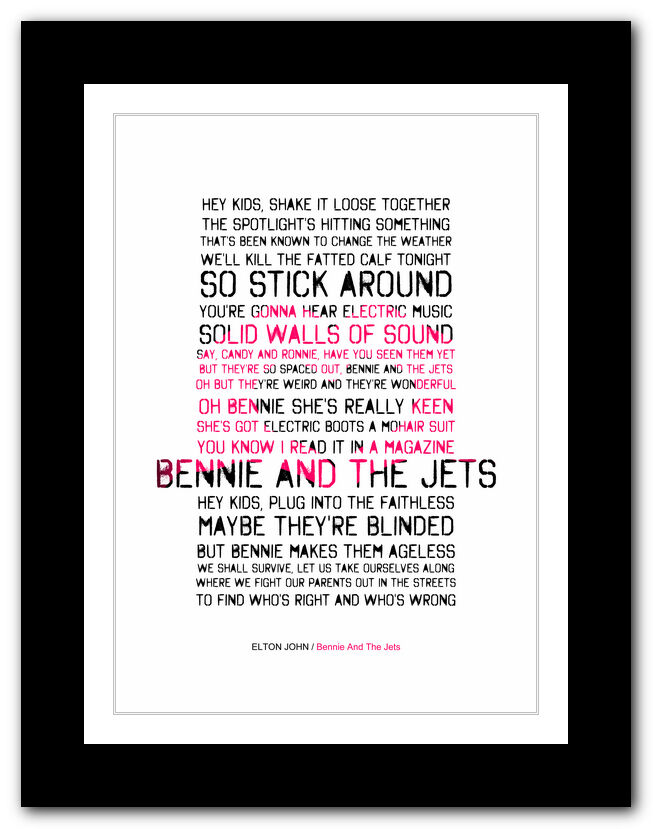 ELTON JOHN Bennie And The Jets ❤ song lyrics typography poster ...