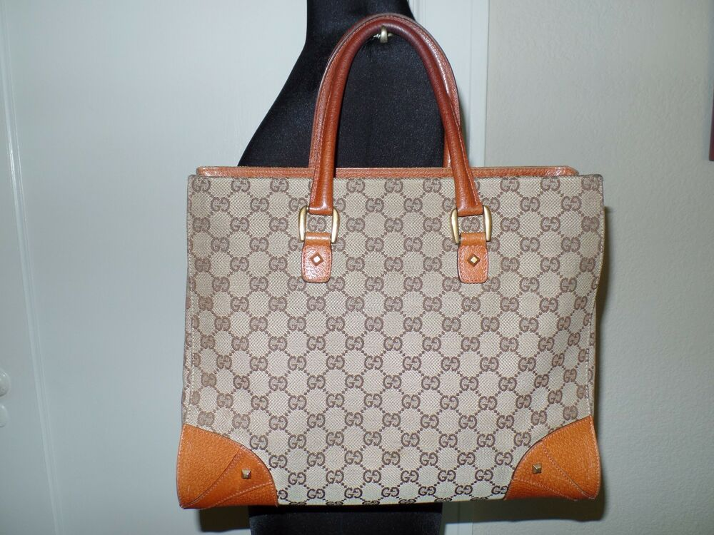 GUCCI Canvas And Cognac Leather Tote Bag