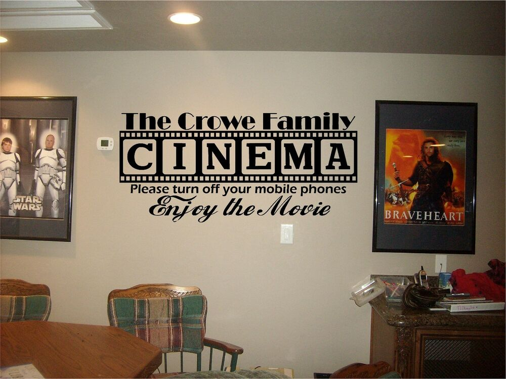 cinema theatre customized sign home movie theater vinyl wall decor mural decal ebay. Black Bedroom Furniture Sets. Home Design Ideas