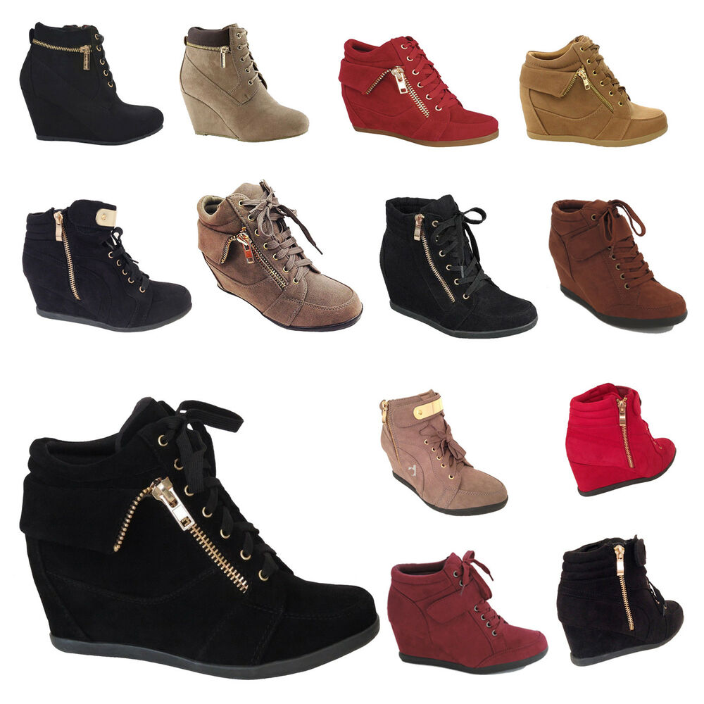 NEW Womens Wedge Sneakers High Top Fashion Heels Booties ...