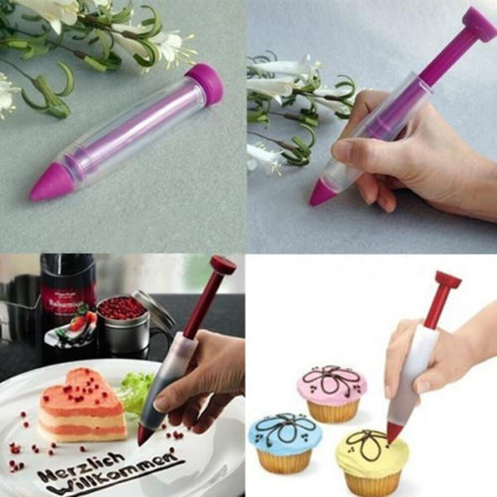 Cake Decorating Icing Pens : Silicone Plate Writing Pen Cake Cookie Pastry Cream ...