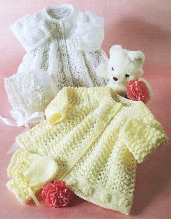 Baby Mittens Knitting Pattern 4 Ply : KNITTING PATTERN 3 & 4 PLY BABY MATINEE JACKET BONNET MITTENS 16-20