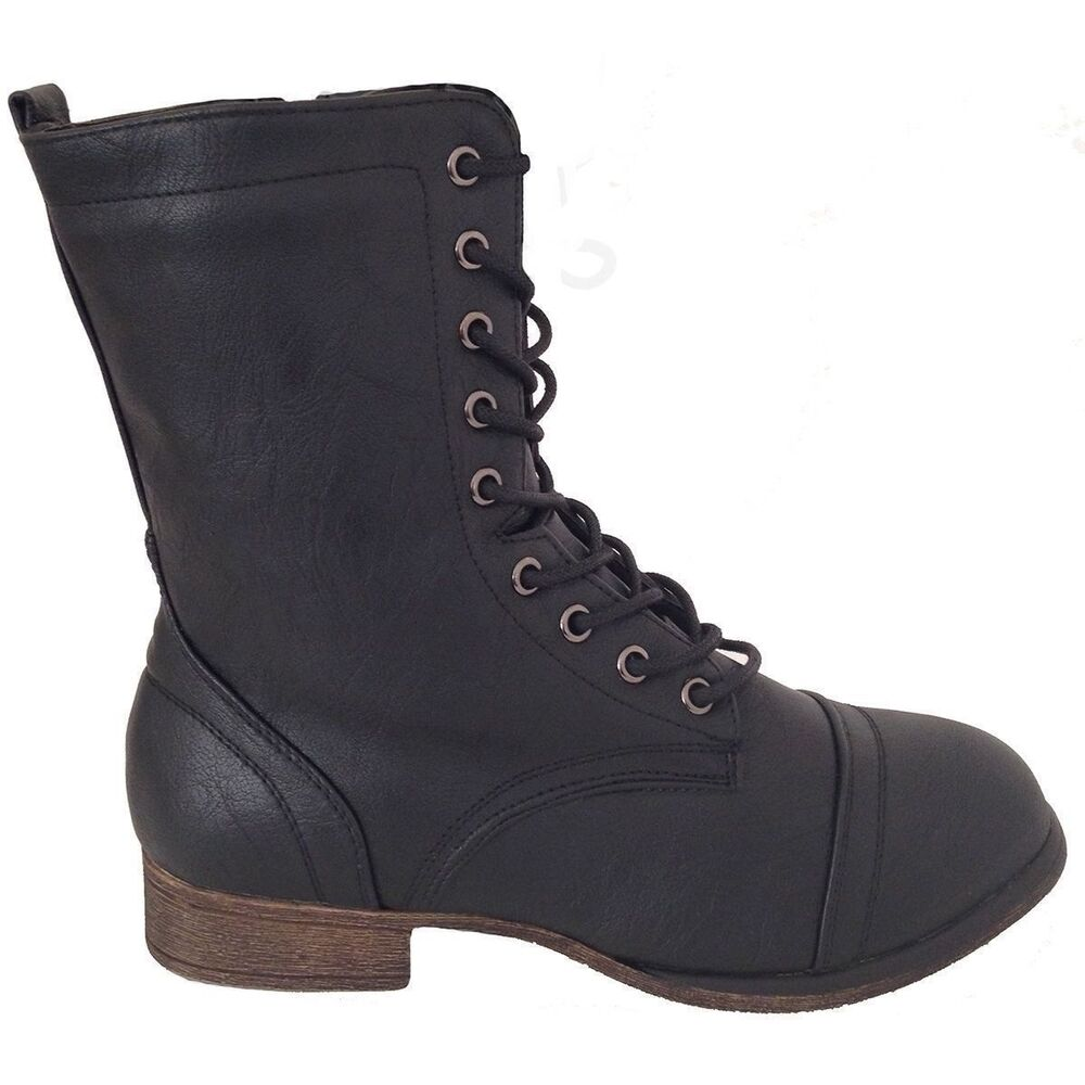 93bc15f06 Details about Kids Girls Boots Youth Booties Ankle Combat Shoes Flat Heel  Military Riding Army