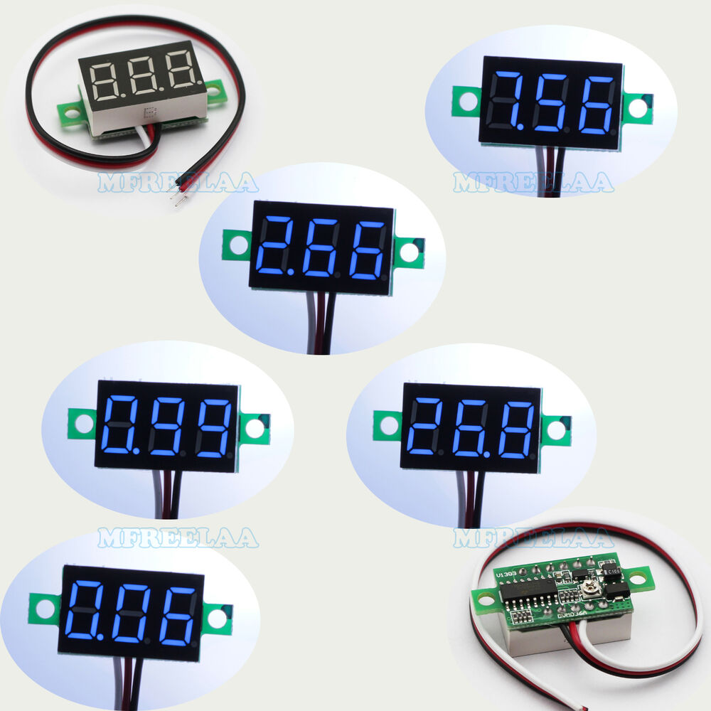Small Digital Voltmeters Dc : Pcs mini blue dc v led panel voltmeter digital