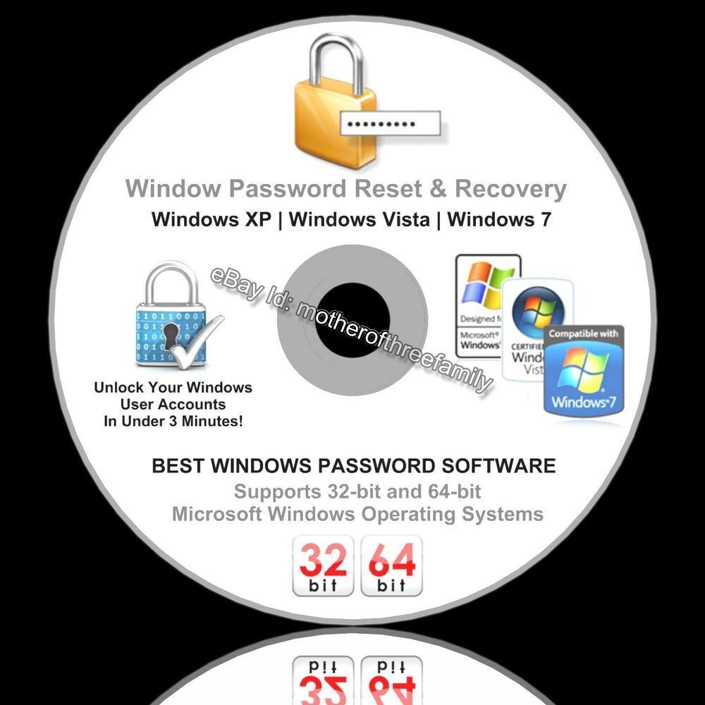 windows password reset recovery removal boot cd unlock xp vista 7 ebay. Black Bedroom Furniture Sets. Home Design Ideas