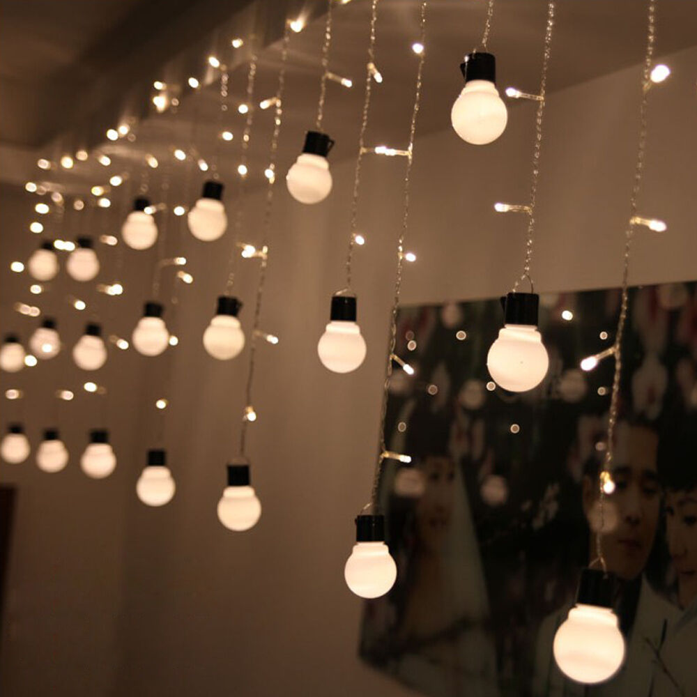 48 LED 10 Globe Bulb Ball Xmas Lamp Light String Curtain Home Wedding Decor Warm eBay
