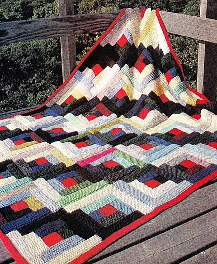EASY KNITTING PATTERN ARAN VINTAGE PATCHWORK LOG CABIN BLANKET BEDSPREAD THRO...