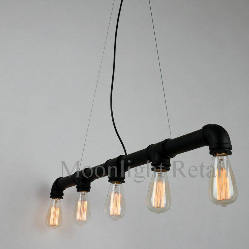 Industrial steampunk lighting iron pipe edison bulb for Iron pipe ceiling light
