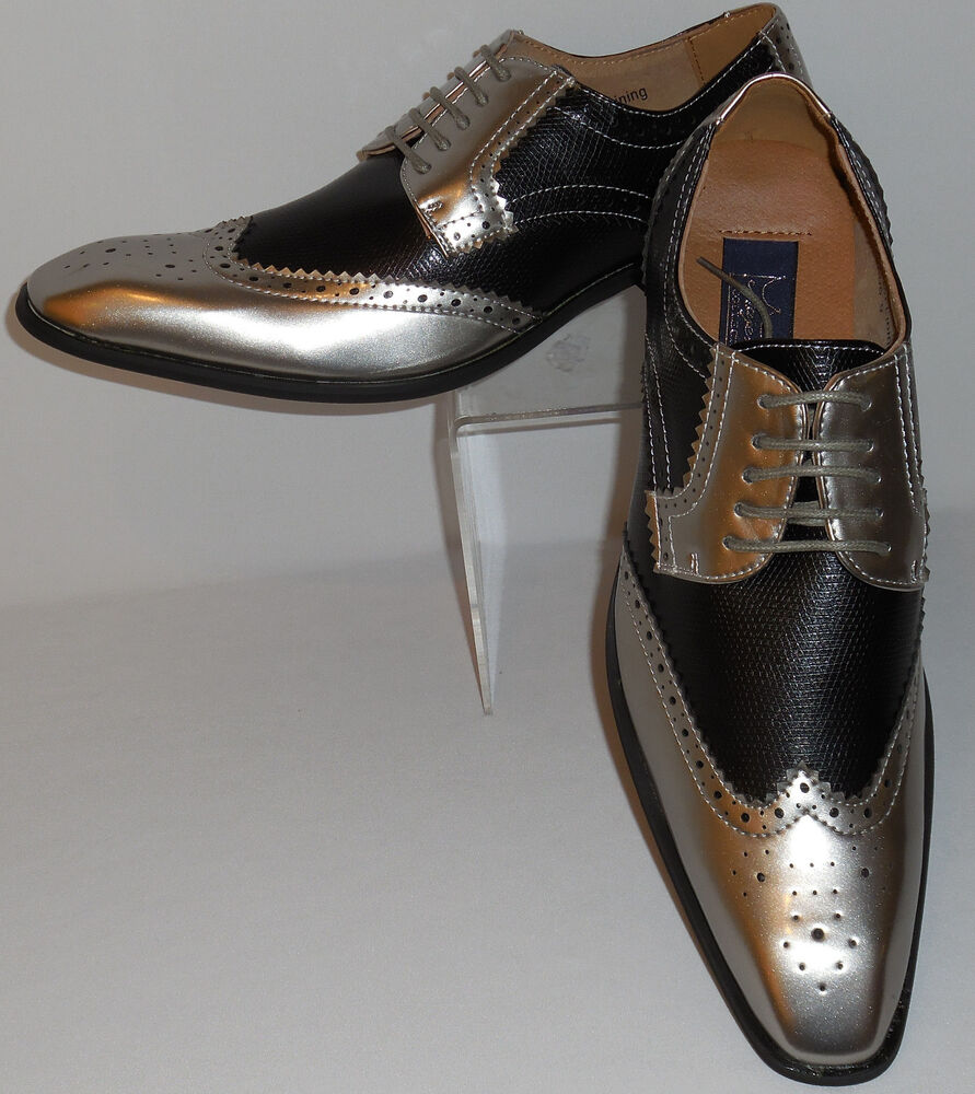 mens gorgeous antique metallic silver black wingtip