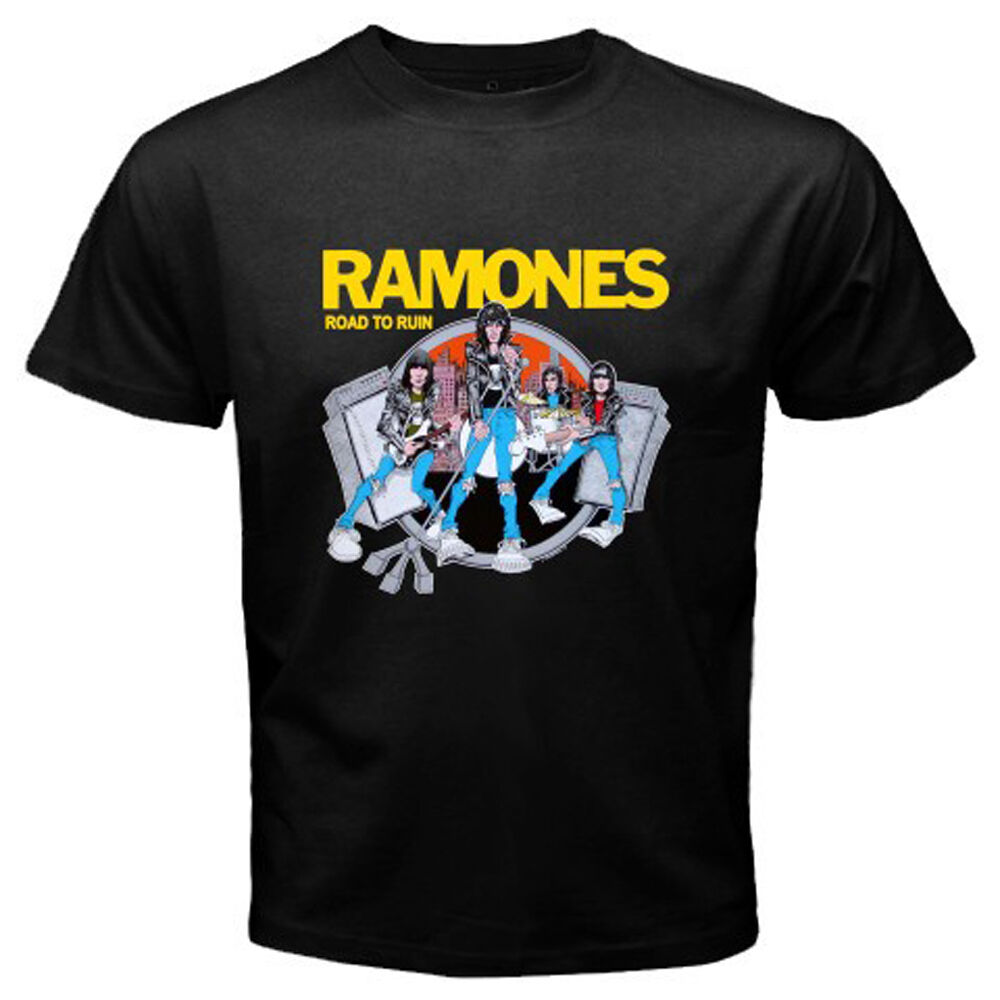 the ramones road to ruin punk rock band legend men 39 s black t shirt size s to 3xl ebay. Black Bedroom Furniture Sets. Home Design Ideas