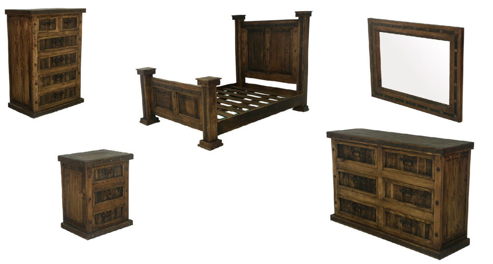 Dark walnut rustic bedroom set king queen real solid wood