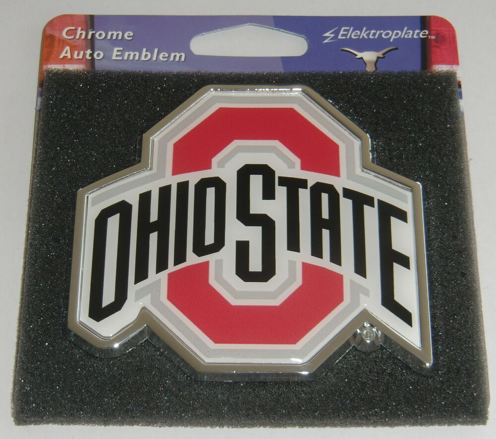 ohio state buckeyes chrome metal auto emblem color ncaa licensed ebay. Black Bedroom Furniture Sets. Home Design Ideas