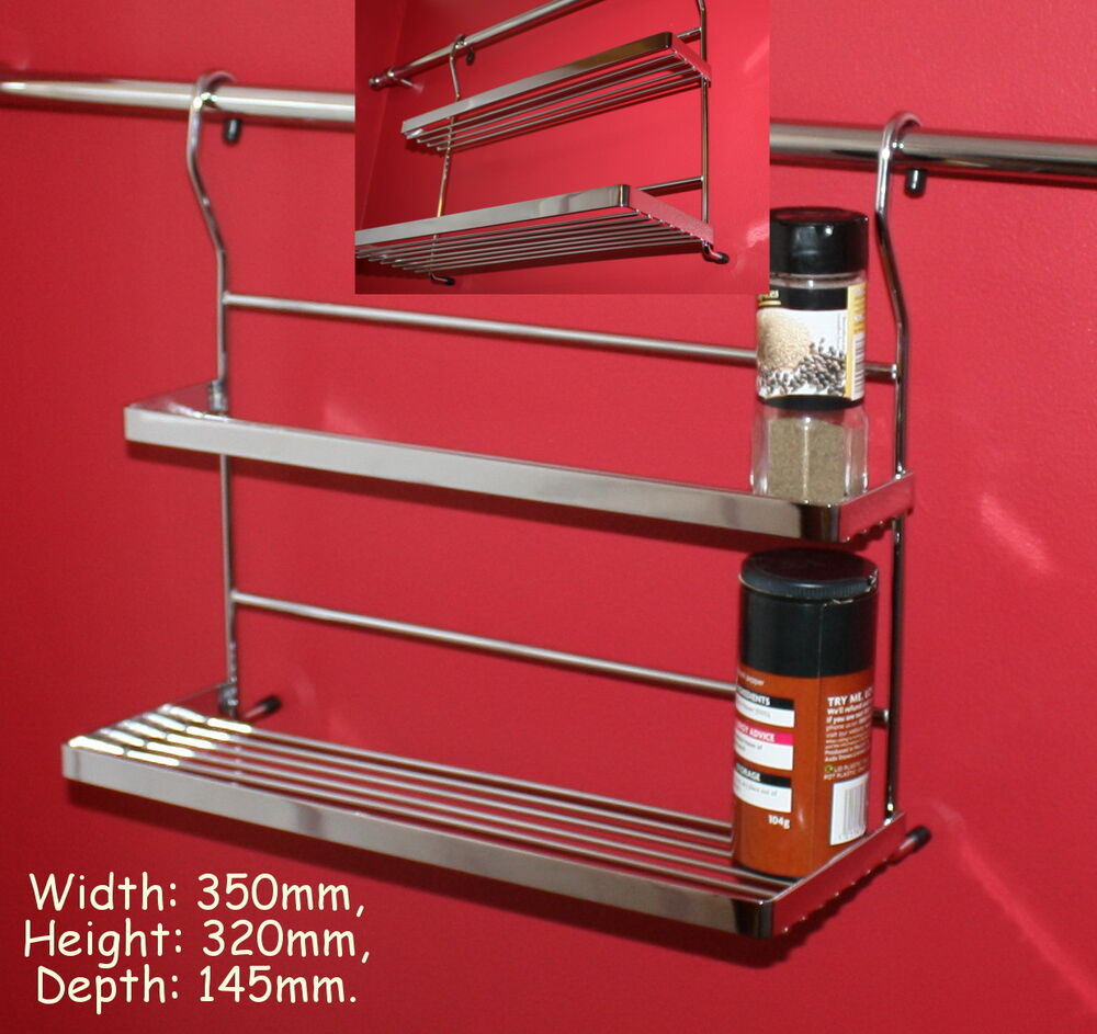chrome kitchen storage racks chrome shelf basket hanging rail spice jar rack kitchen 5421