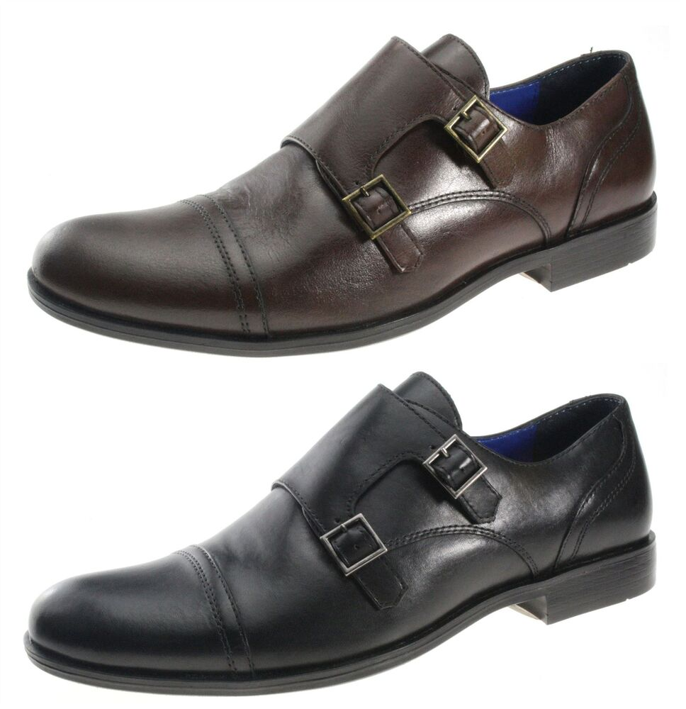 Double Buckle Black Mens Shoes