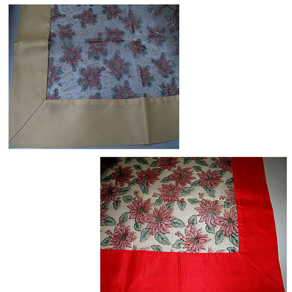 Christmas sheer red gold organza tablecloth choice of 6 for 12 days of christmas table cloth