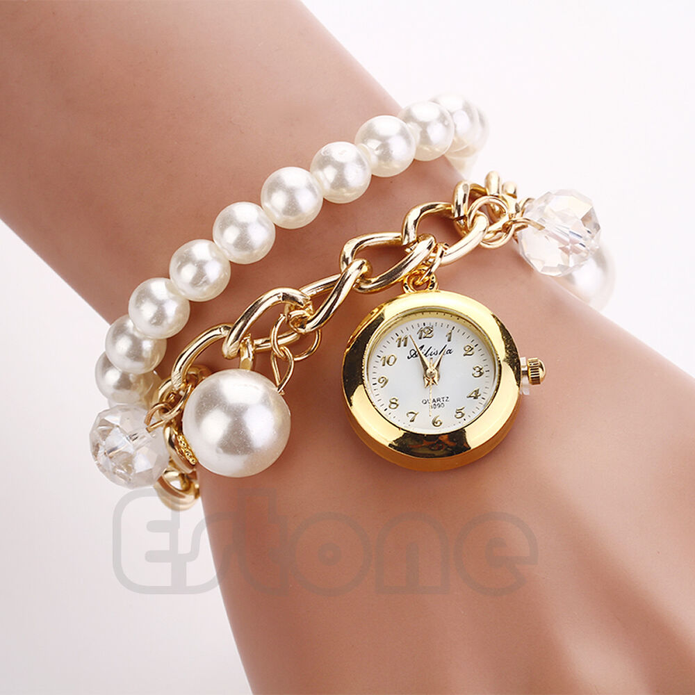 Fashion Women Faux Pearl Rhinestone Chain Bracelet Round
