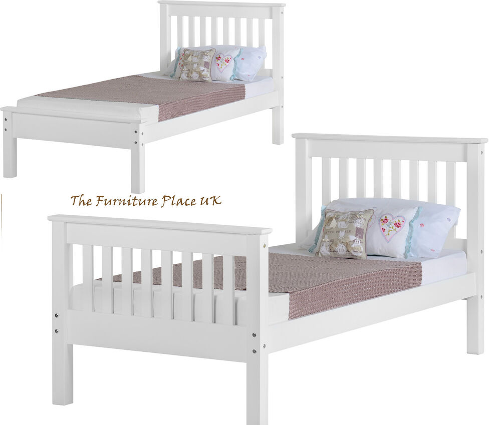 Monaco 3ft Single Low Or High End Bed Frame In White Ebay