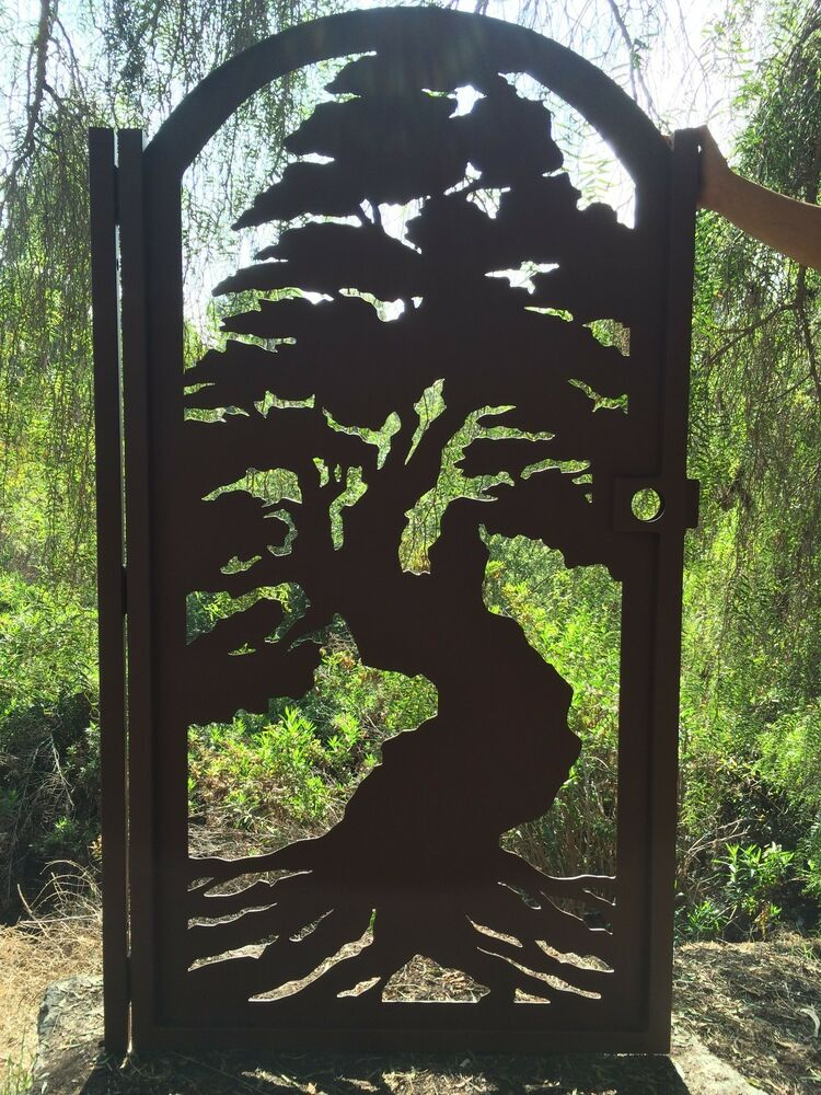 Bonsai tree gate custom pedestrian walk thru entry walk for Outdoor garden doors