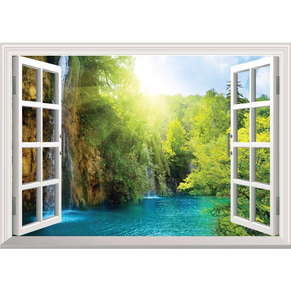 Huge window 3d decor view wall sticker removable decal art for Home window decorations