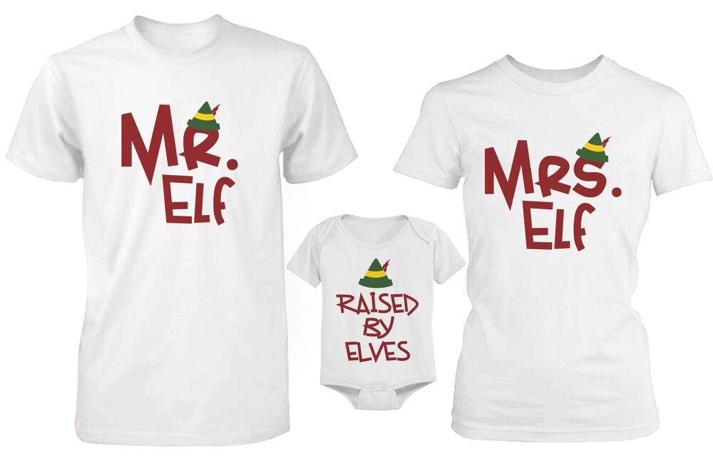 Daddy Mommy and Baby Matching Christmas Elf Family T-Shirt ...