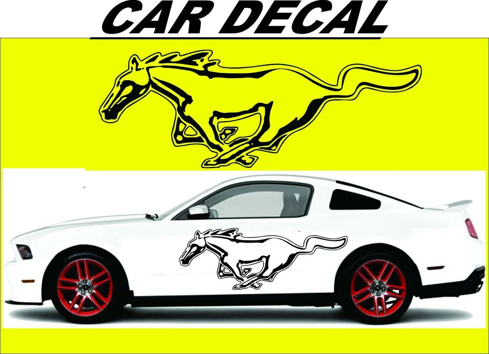 Old Ford Trucks Decals : Racing horse car vinyl sticker graphics decal pair