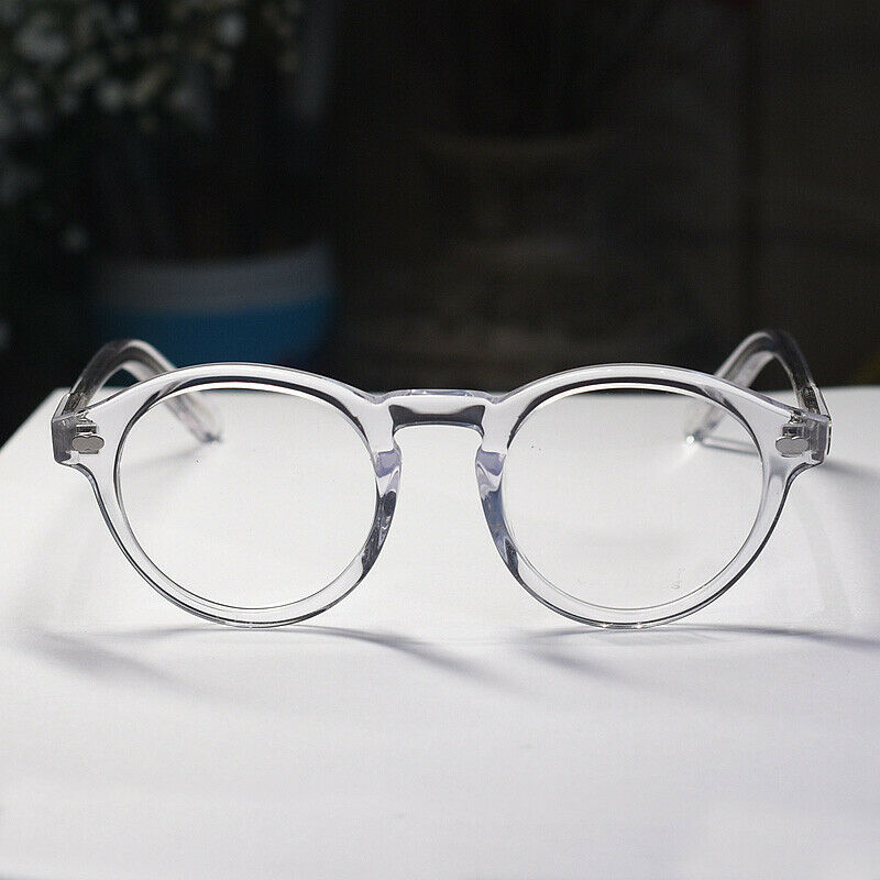 ba8ab6852d Details about Retro round eyeglass frame 1960 s mens Johnny Depp eyewear  Crystal acetate glass