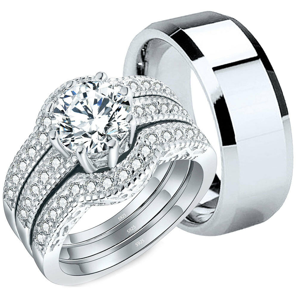 Wedding Ring Sets His And Hers: 4 Pcs His Tungsten Hers Sterling Silver CZ Wedding