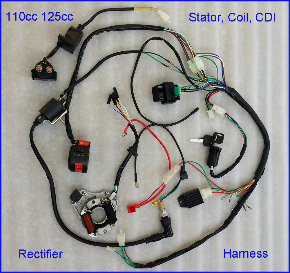 wiring harness for chinese atv complete electrics atv quad 50cc 70cc 110cc 125cc coil cdi ... wiring harness kids 50cc atv