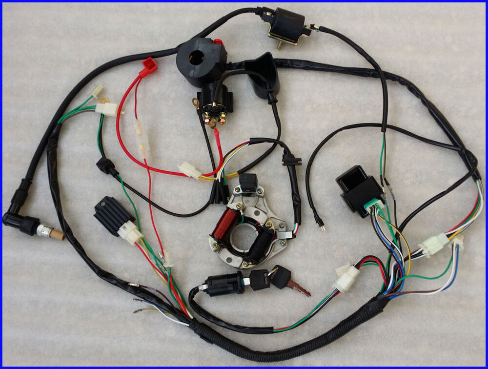 full electrics wiring harness cdi coil 110cc atv quad bike. Black Bedroom Furniture Sets. Home Design Ideas