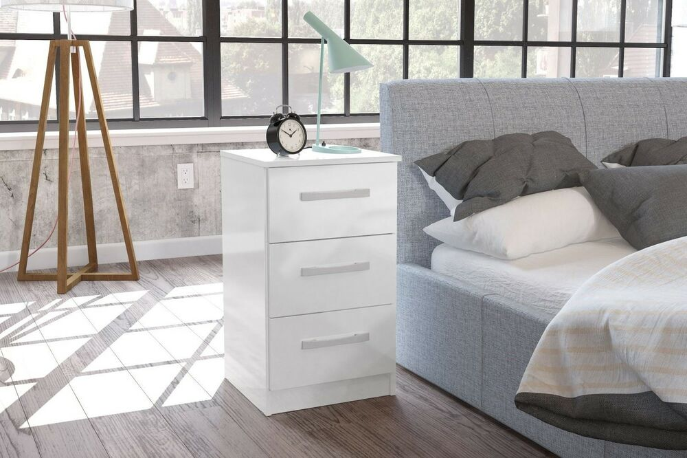 Birlea Lynx High Gloss All White 3 Drawer Bedside Cabinet