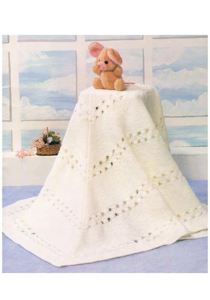 Baby Shawl Blanket Knitting Pattern PATTERN ONLY DK 56 inch 140cm Square ?ppt...