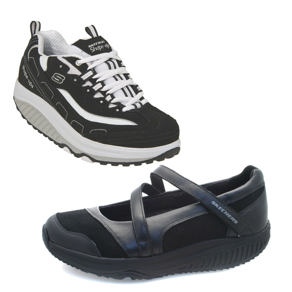 womens skechers shape ups black trainers ebay. Black Bedroom Furniture Sets. Home Design Ideas