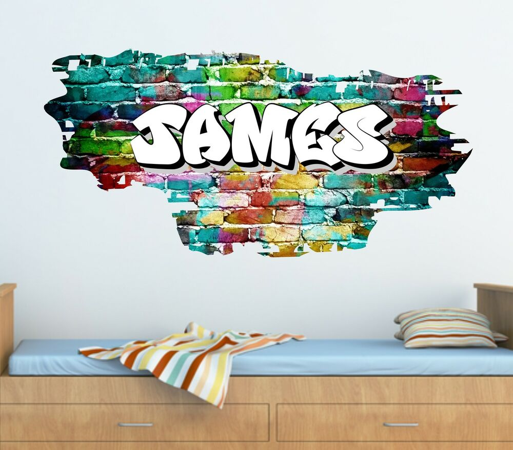 personalised graffiti brick amp name wall sticker decal wall art graffiti stickers www imgarcade com online