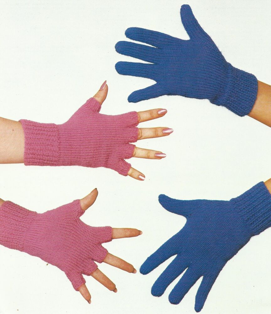 Ladies Gloves and Fingerless Gloves Knitting Pattern 4 Ply ...