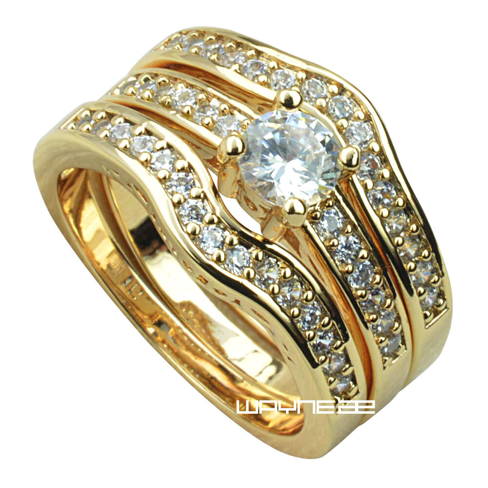 18k Gold Wedding Ring Set 18k Yellow Gold Fille Engagement Wedding Ring Set W